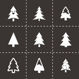 Vector cristmas trees icons set. On black background Royalty Free Stock Image