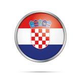 Vector Croatian flag Button. Croatia flag in glass button style. Stock Photos