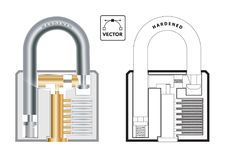 Vector cross section of a typical padlock Stock Photo