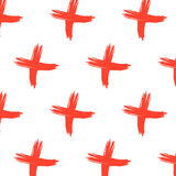 Vector cross sign pattern. Abstract background with red brush strokes. Hand drawn elements print  hipster X. Trendy Stock Images