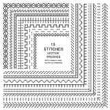Vector cross stitches pattern brushes Stock Photography