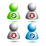 Vector cross tick people icons Stock Image