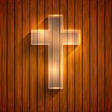 Vector cross on wooden background. Eps 10 Stock Photography