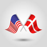 Vector crossed american and danish flags on silver sticks - symbol of united states of america and denmark Stock Image