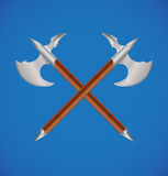 Vector crossed battle axes Royalty Free Stock Photo