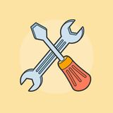 Vector crossed screwdriver and wrench Royalty Free Stock Photos