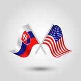 Vector crossed slovak and american flags on silver sticks - symbol of slovakia and united states of america Royalty Free Stock Image