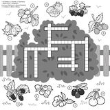 Vector crossword, education game for children about berries Stock Images