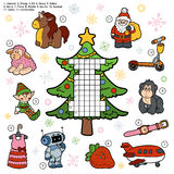 Vector crossword, education game for children about Christmas pr Royalty Free Stock Photo
