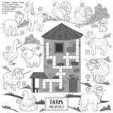 Vector crossword, education game for children about farm animals Stock Photos