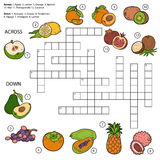 Vector crossword, game for children about fruits Royalty Free Stock Images