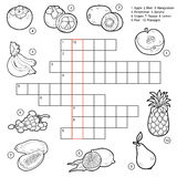Vector crossword, game for children about fruits Stock Image