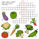 Vector crossword, game for children about vegetables Royalty Free Stock Images