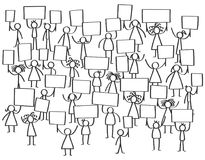 Vector crowd of protesting stick figures, men and women holding up blank boards. Isolated on white background Stock Photos