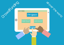 Vector crowdfunding concept in flat style. Stock Images