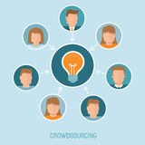 Vector crowdsourcing concept in flat style Stock Photos