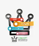 Vector crown infographics, line style and keys Royalty Free Stock Image