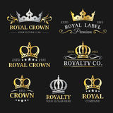 Vector crown logos set. Luxury corona monograms design. Diadem icons illustrations for hotel,boutique,business card etc. Royalty Free Stock Images