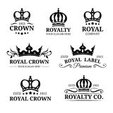 Vector crown logos set. Luxury corona monograms design. Diadem icons illustrations for hotel,boutique,business card etc. Royalty Free Stock Image