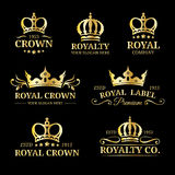 Vector crown logos set. Luxury corona monograms design. Diadem icons illustrations for hotel,boutique,business card etc. Stock Photos