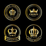 Vector crown logos set. Luxury corona monograms design. Diadem icons illustrations for hotel,boutique,business card etc. Royalty Free Stock Photography