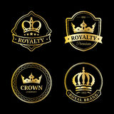 Vector crown logos set. Luxury corona monograms design. Diadem icons illustrations for hotel,boutique,business card etc. Stock Images