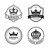 Vector crown logos set. Luxury corona monograms design. Diadem icons illustrations for hotel,boutique,business card etc. Stock Photo