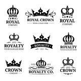 Vector crown logos set. Luxury corona monograms design. Diadem icons illustrations. Used for hotel, restaurant card etc. Royalty Free Stock Photo