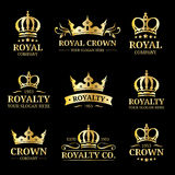 Vector crown logos set. Luxury corona monograms design. Diadem icons illustrations. Used for hotel, restaurant card etc. Royalty Free Stock Image