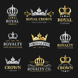 Vector crown logos set. Luxury corona monograms design. Diadem icons illustrations. Used for hotel, restaurant card etc. Stock Images