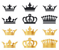 Vector Crowns. Six various  crowns on white Royalty Free Stock Photo