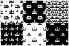 Vector crowns seamless patterns set in black and white Stock Photography