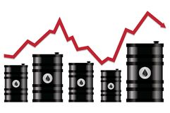 Vector crude oil price financial chart. Red arrow shows oil prices up and down trade trend. energy market flat background Stock Photography