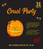 Vector cruel party invitation. Halloween pumpkin with knife and blood. Scary trick or treat holiday print. Bloody horror. Vector cruel party invitation Stock Photography
