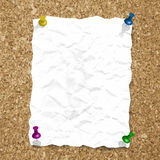 Vector crumpled paper sheet on cork texture with Stock Images