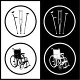 Vector crutches and invalid chair icons Royalty Free Stock Photos