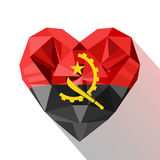 Vector crystal gem Angolas heart with the flag Stock Photography