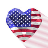 Vector crystal gem jewelry American heart with the flag of the The United States Royalty Free Stock Image