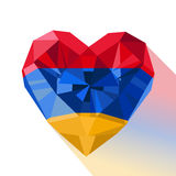 Vector crystal gem jewelry Armenian heart with the flag of the Armenia Royalty Free Stock Images