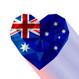 Vector crystal gem jewelry Australian heart with the Commonwealth of Australia Stock Photos