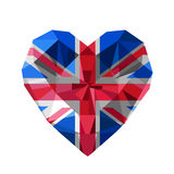Vector crystal gem jewelry British heart with The flag of the United Kingdom. Of Great Britain and Northern Ireland. Flat style logo symbol of love UK. The Royalty Free Stock Photos