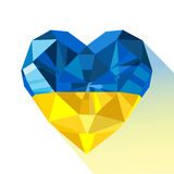 Vector crystal gem jewelry Ukrainian heart with the flag of the Ukraine. Royalty Free Stock Photos