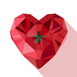 Vector crystal gem Moroccan heart with the flag of the Kingdom of Morocco. Royalty Free Stock Photo