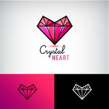 Vector crystal heart icon, jewelry logo. Love, diamond, Stock Images