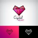Vector crystal heart icon, jewelry logo. Love, diamond, vector illustration