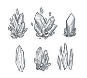 Vector Crystals Draing. Set of hand drawn vector crystals. Sketchy minerals isolated on white Royalty Free Stock Photography