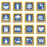 Vector cuadrado azul fijado iconos del agua Imágenes de archivo libres de regalías