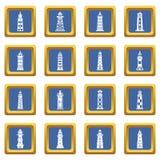 Vector cuadrado azul fijado iconos del faro Fotografía de archivo libre de regalías