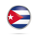 Vector Cuban flag button. Cuba flag in glass button style. Stock Images