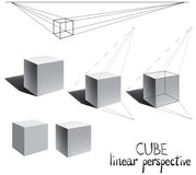 Vector cube with shadow in linear perspective. royalty free illustration